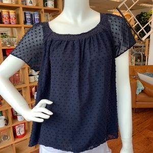 J. Crew Tops - J. Crew Navy Textured Dot Top Blouse